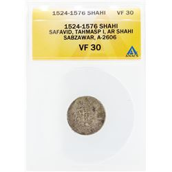 1524-1576 Shahi Safavid Tahmasp I AR Shahi Sabzawar A-2606 Coin ANACS VF30