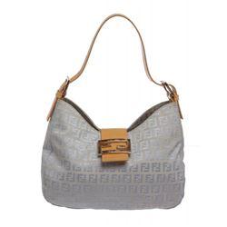 Fendi Blue Zucca Canvas Tan Leather Trim Shoulder Handbag