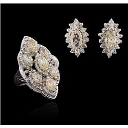 14KT White Gold 6.82 ctw Ring & Earring Suite