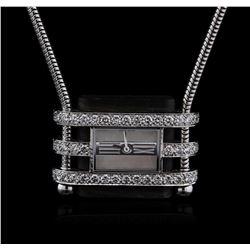 Van Cleef & Arpels 18KT White Gold Diamond Watch Chain Necklace