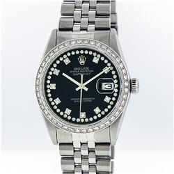 Rolex Mens Stainless Steel Black String Diamond VS Datejust Wristwatch