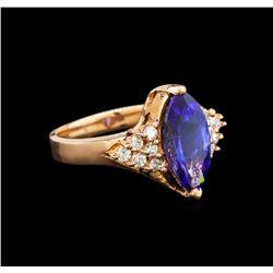 14KT Rose Gold 2.90 ctw Tanzanite and Diamond Ring