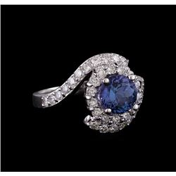 14KT White Gold 1.78 ctw Tanzanite and Diamond Ring