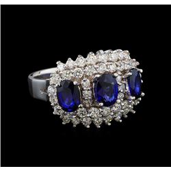 14KT White Gold 2.88 ctw Sapphire and Diamond Ring