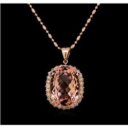 14KT Rose Gold 29.85 ctw Morganite and Diamond Pendant With Chain