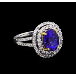 14KT White and Yellow Gold 3.20 ctw Tanzanite and Diamond Ring