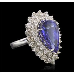 14KT White Gold GIA Certified 9.22 ctw Tanzanite and Diamond Ring