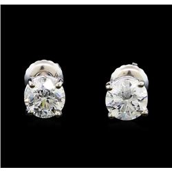 1.44 ctw Diamond Stud Earrings - 14KT White Gold