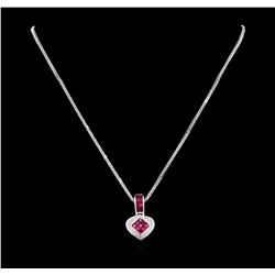 18KT White Gold 1.40 ctw Ruby and Diamond Pendant With Chain