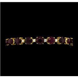 44.63 ctw Ruby and Diamond Bracelet - 14KT Yellow Gold