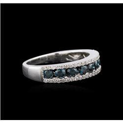 14KT White Gold 1.02 ctw Blue Diamond Ring