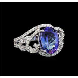 14KT White Gold 3.23 ctw Tanzanite and Diamond Ring