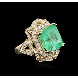 14KT Yellow Gold GIA Certified 10.21 ctw Emerald and Diamond Ring