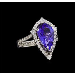 3.46 ctw Tanzanite and Diamond Ring - 14KT White Gold