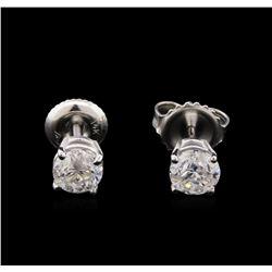 1.09 ctw Diamond Solitaire Earrings - 14KT White Gold