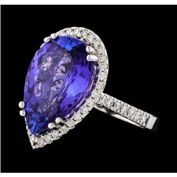 GIA Cert 8.25 ctw Tanzanite and Diamond Ring - 14KT White Gold