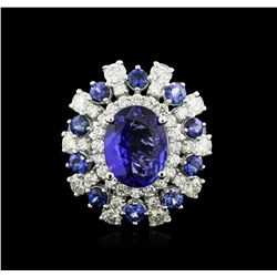 14KT White Gold 4.17 ctw Tanzanite, Sapphire and Diamond Ring