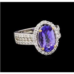 14KT White Gold 2.51 ctw Tanzanite and Diamond Ring