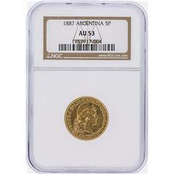 1887 NGC AU53 Argentina 5 Pesos Gold Coin