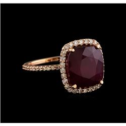 9.70 ctw Ruby and Diamond Ring - 14KT Rose Gold