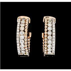 0.94 ctw Diamond Earrings - 14KT Rose and White Gold