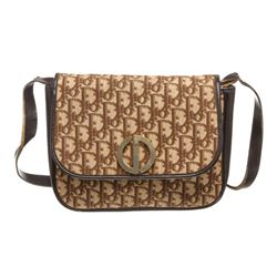 Christian Dior Brown Beige Vintage Canvas Leather Shoulder Bag