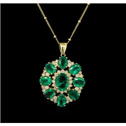 14KT Yellow Gold 7.97 ctw Emerald and Diamond Pendant With Chain