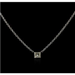14KT White Gold 0.20 ctw Diamond Solitaire Necklace