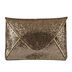 Black and Metallic Gold Evening Envelope Clutch