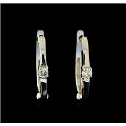 0.04 ctw Diamond Earrings - 14KT White Gold