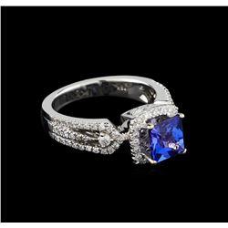 18KT White Gold 1.62 ctw Tanzanite and Diamond Ring