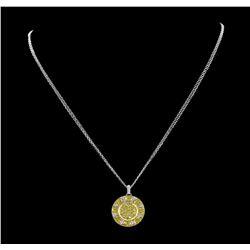 1.50 ctw Yellow Sapphire And Diamond Pendant & Chain - 18KT White Gold