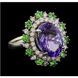 6.20 ctw Tanzanite, Tsavorite and Diamond Ring - 14KT White Gold