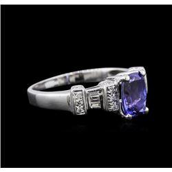 18KT White Gold 2.01 ctw Tanzanite and Diamond Ring