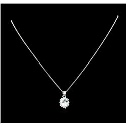 2.48 ctw Aquamarine and Diamond Pendant With Chain - 14KT White Gold