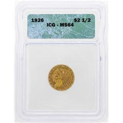 1926 $2 1/2 Indian Head Quarter Eagle Gold Coin ICG MS64