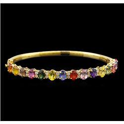 14KT Yellow Gold 10.15 ctw Multicolor Sapphire and Diamond Bracelet