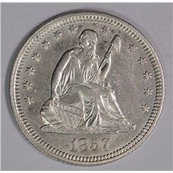 1857 SEATED LIBERTY QUARTER, CH AU