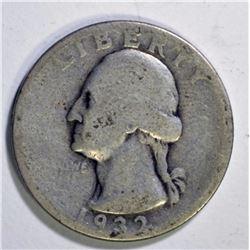 1932-D WASHINGTON QUARTER, GOOD KEY DATE