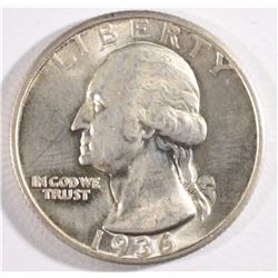 1936-D WASHINGTON QUARTER, CH BU NICE WHITE COIN