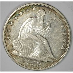 1858-O SEATED HALF DOLLAR, AU