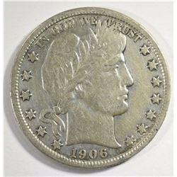 1906-D BARBER HALF DOLLAR, NICE VF