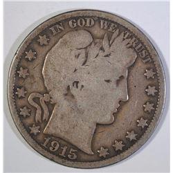 1915 BARBER HALF DOLLAR, G/VG KEY DATE