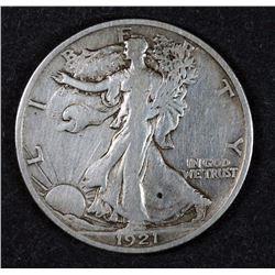 1921-S WALKING LIBERTY HALF DOLLAR, VF -KEY DATE