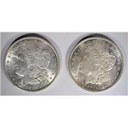 2- 1921 MORGAN SILVER DOLLARS, CH BU