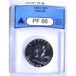 1953 FRANKLIN HALF DOLLAR, ANACS PF-66 CHERRY!