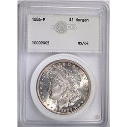 1886 MORGAN DOLLAR, AGS CH/GEM BU