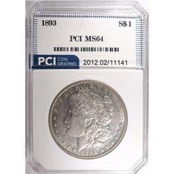 1893 MORGAN DOLLAR, PCI CH/GEM BU SEMI-PL