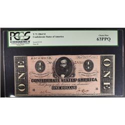 1864 $1 CONFEDERATE STATES OF AMERICA