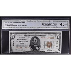 1929 $5 TY2 BARNETT NATL BANK OF JACKSONVILLE
